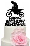 Motorbike Stunt Rider with Personalised name Cake Acrylic Topper